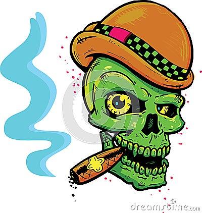 Punk tattoo style skull smoking a cigar