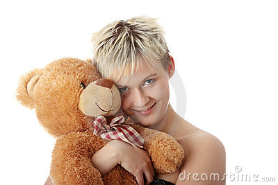 Punk teen girl with teddy