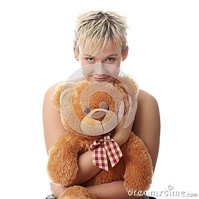 Free Punk Teen Girl With Teddy Bear Stock Photos - 12476903
