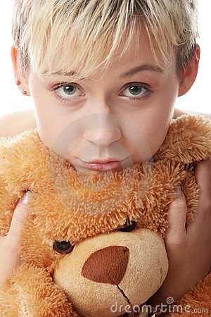 Free Punk Teen Girl With Teddy Bear Royalty Free Stock Images - 12476949