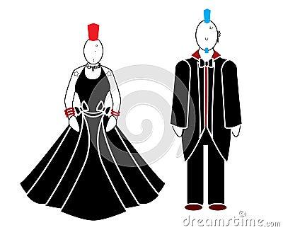 Punk woman and man