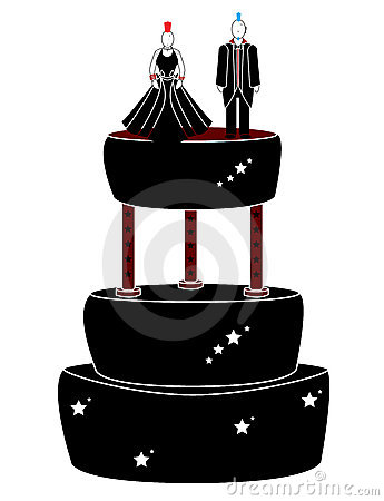 Punk woman and man on a cake
