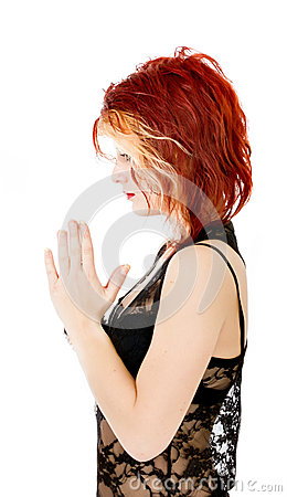 Punk woman pray his god
