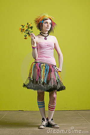 Free Punk Woman With Plastic Flowers Stock Images - 4279364