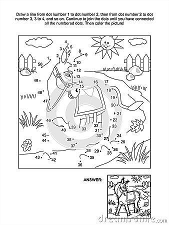 Punt-aan-punt en kleurende pagina - ezel