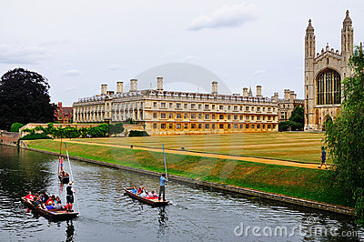 Punting in the Canals of Cambridge Editorial Photo