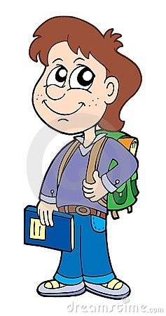 Pupil boy with school bag