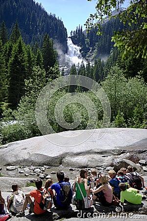 Pupils near Krimml Waterfalls, Austria Editorial Stock Photo