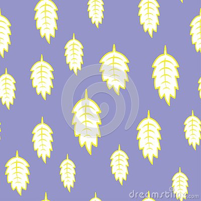 Puple background with yellow leaves. Seamless colorful pattern Stock Photo