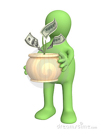 Puppet with monetary tree