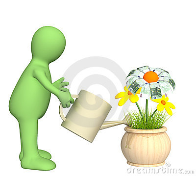 Puppet, watering monetary flower