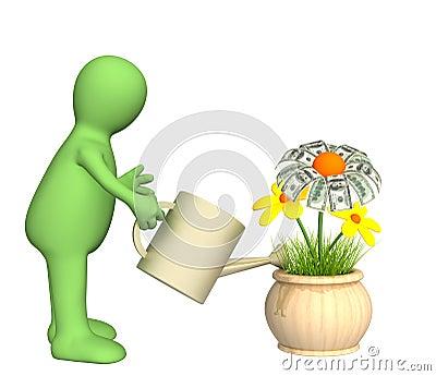 Puppet, watering monetary flower
