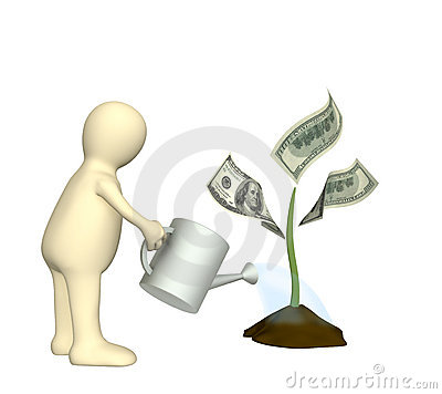 Puppet, watering monetary plant