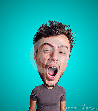 Free Puppet Yawning Man With Big Head Royalty Free Stock Photography - 29010427