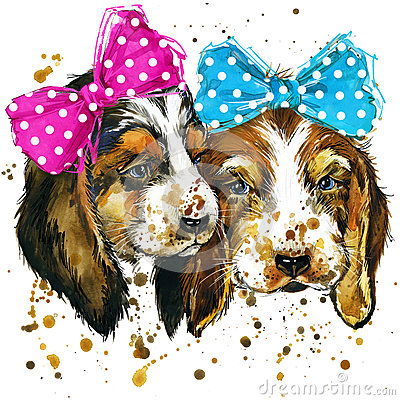 Puppy dog illustration with splash watercolor textured background Cartoon Illustration