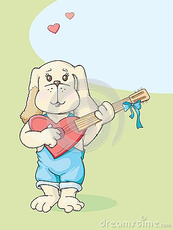 Puppy with guitar