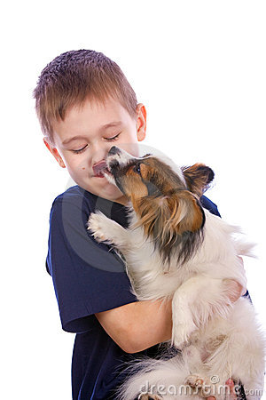 Free Puppy Licking Child Face Royalty Free Stock Images - 8924889