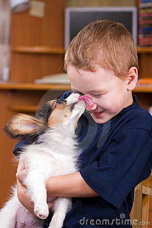 Free Puppy Licking Childs Face Royalty Free Stock Photography - 7803257