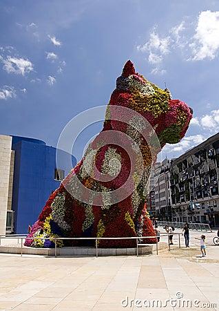 Puppy sculpture, Guggenheim Bilbao Editorial Stock Photo