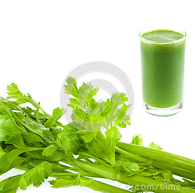 Free Pure Fresh Green Celery Juice In Glass Isolated Royalty Free Stock Images - 26206049