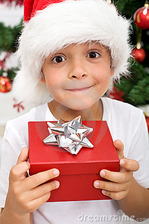 Free Pure Happiness - Boy With Christmas Present Royalty Free Stock Image - 16563676