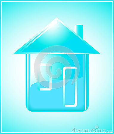 Pure house silhouette on blue background