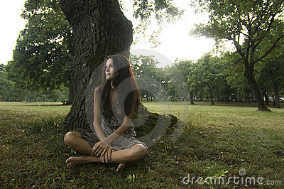 Pure, natural, beautiful young woman in nature