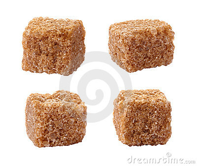 Pure Sugar Cane Cubes isolated on white