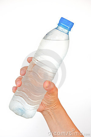 Pure water bottle in hand