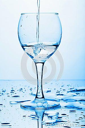 Pure water splashing into glass
