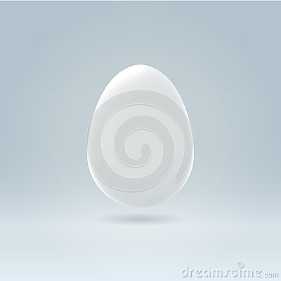 Pure white egg hanging in space