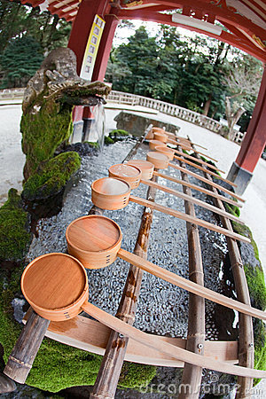 Purification fountain at a Japanese shinto shrine