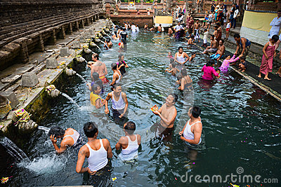Purification in sacred holy spring water, Bali Editorial Image