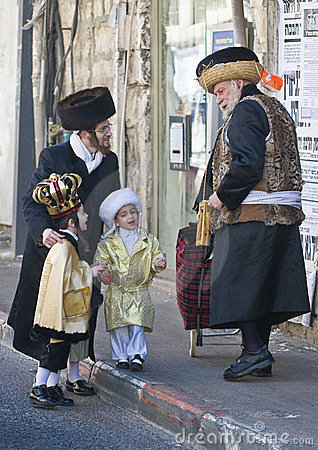 Purim in Mea Shearim Editorial Stock Photo