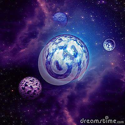 Purpere ruimtewolken en planeten