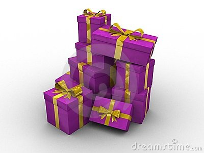 Purple 3d gift boxes
