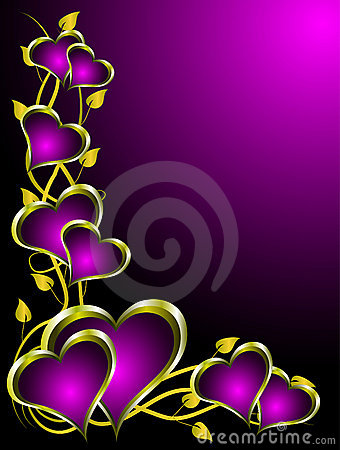 Free Purple And Gold Hearts Valentines Background Stock Photography - 12429032