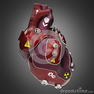 Free Purple And Red Car Paint Cyborg Techno Heart With Warning Signs Stock Image - 68009431