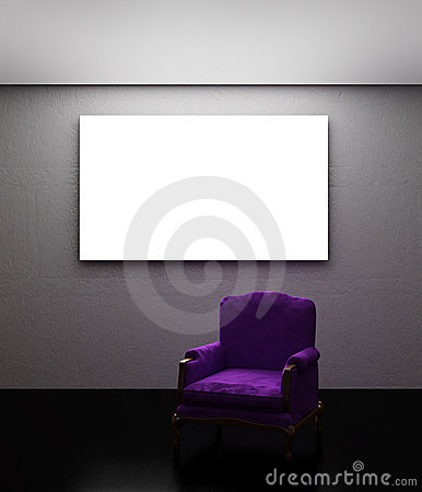 Purple armchair with place on the wall
