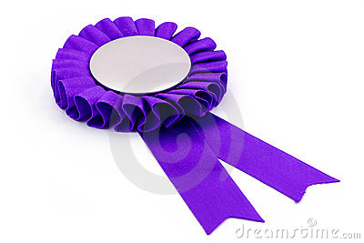Purple award ribbons badge