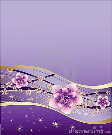 Purple background with pink and gold flowers