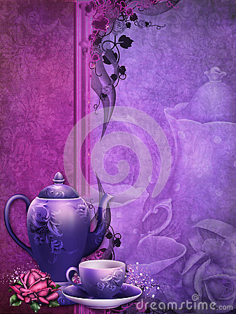 purple background with a tea pot stock image image 28416571