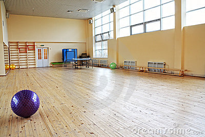 Purple ball in empty gym