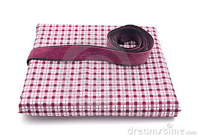 Purple band on a checked cloth