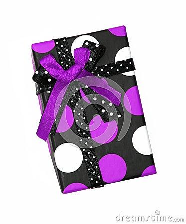 Purple and black ribbon gift bow box
