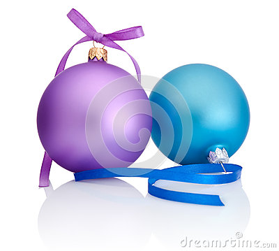 Purple and blue Christmas Ball with ribbon bow  on white