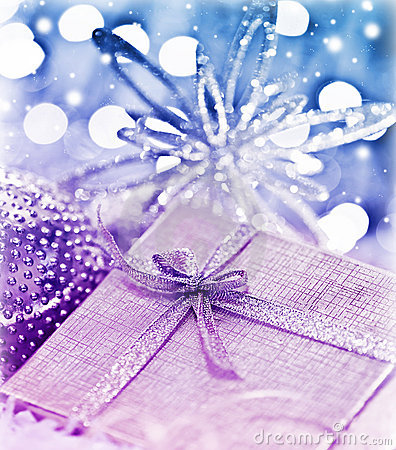 Purple blue Christmas gift with baubles decoration