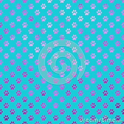 Free Purple Blue Dog Paw Metallic Foil Polka Dot Paws Pattern Stock Photography - 66964972