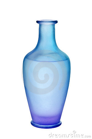 Purple and Blue Frosted Glass Vase Isolated