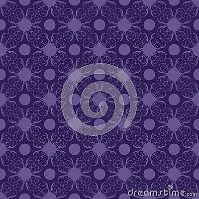 Purple and Blue Swirly Damask Seamless Pattern